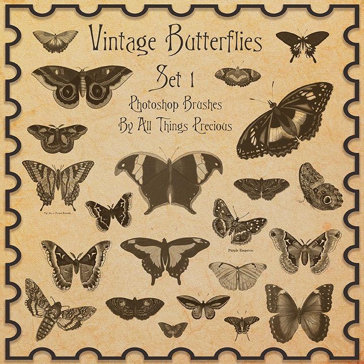 Colección de pinceles de mariposas