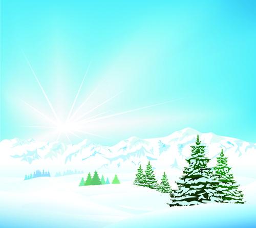 Paisajes de invierno en vector