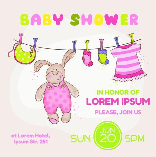 Baby Bunny Shower Card - with place for your text - in vector