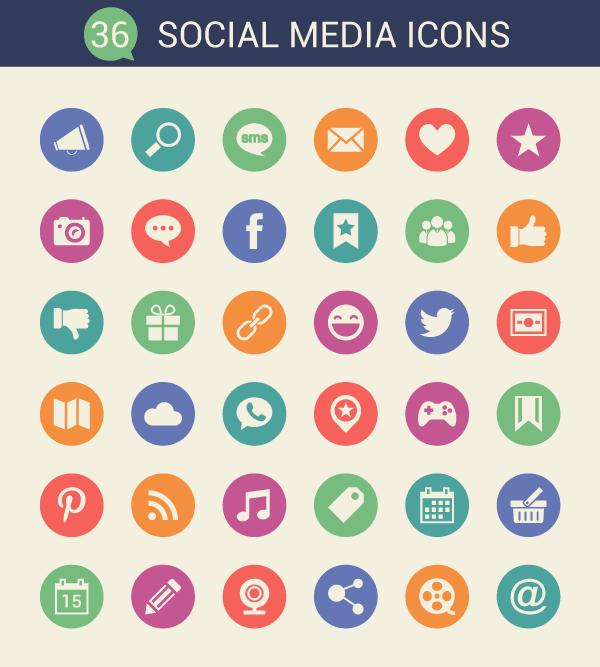 vectores iconos redes sociales