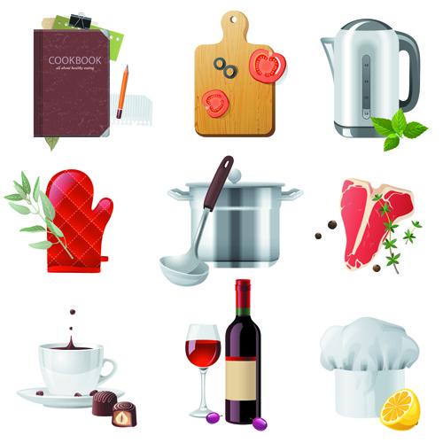 Iconos de comida en vector gratis
