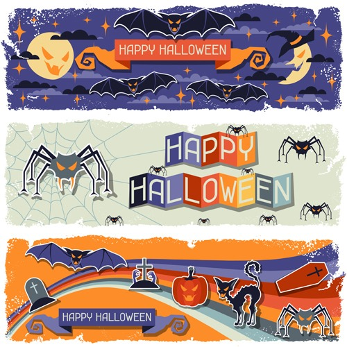 Happy Halloween grungy retro horizontal banners.