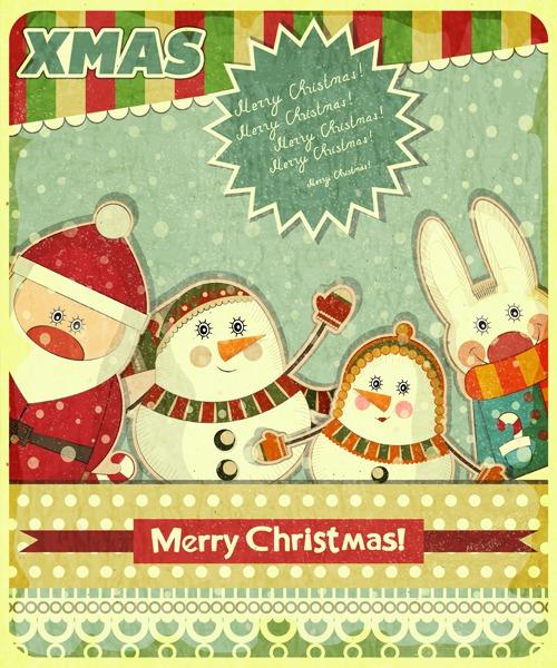 Retro design of Christmas card