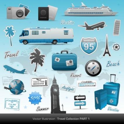 Iconos de viaje y turismo en vector