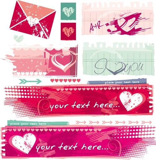 Banners en vector para San Valentín