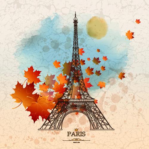 Colección de fondos de vectores de París
