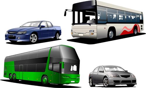 2 autobuses y 2 coches en vector