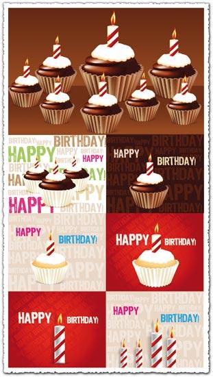 Pasteles de cumpleaños con velas