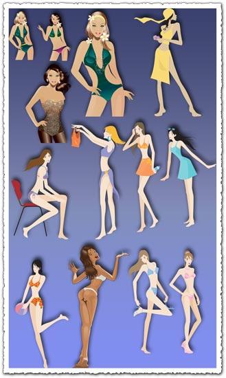 Vectores de chicas en bikini
