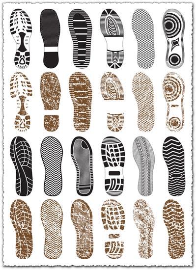 Vectores de marcas de suelas de zapatos