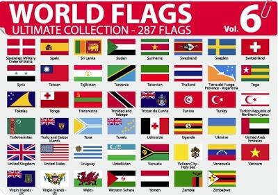 Colección de banderas de países en vector