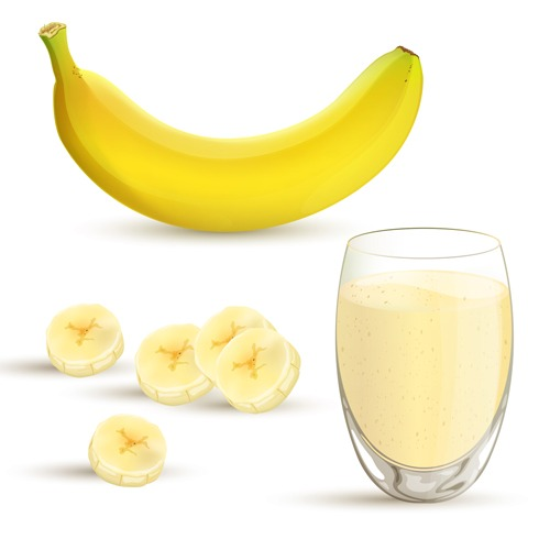 Vector illustration of a banana and a banana milkshake