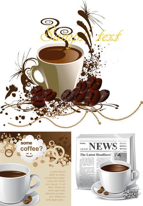 Originales fondos de café en formato vectorial