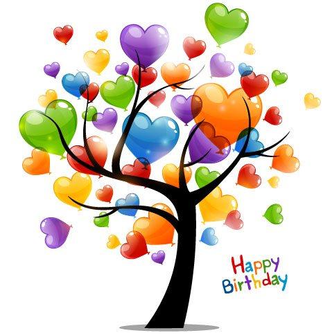 Arbol con globos para Feliz Cumpleaños