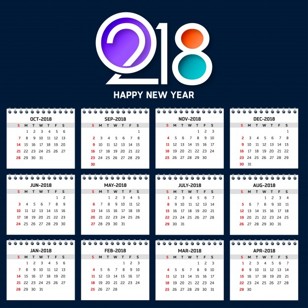 calendario 2018 vector