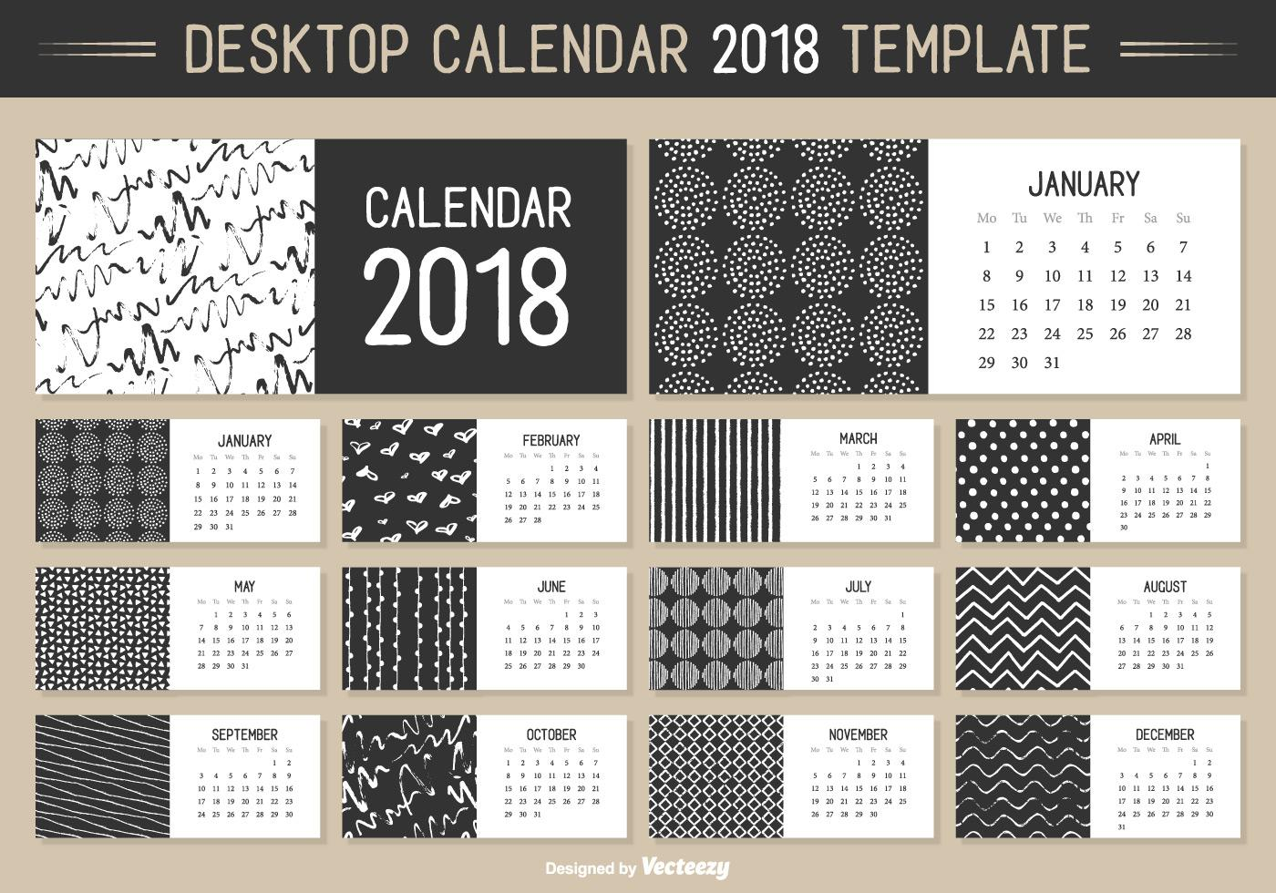 Calendarios en vector 2019 para descargar gratis - Illustrator