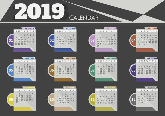calendario 2019 plantilla illustrator