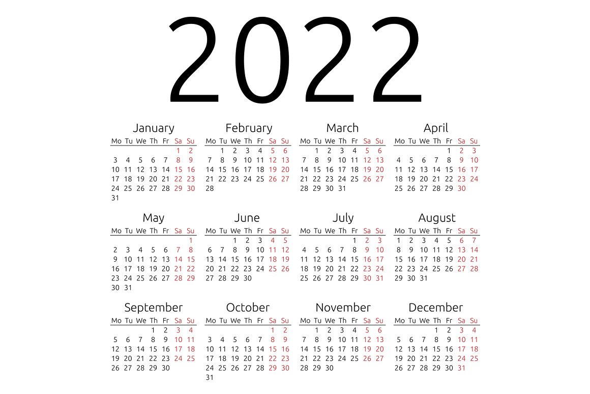 calendar 2022 lunes