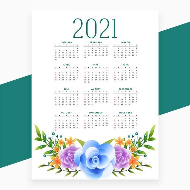 diseno calendario 2021 flores