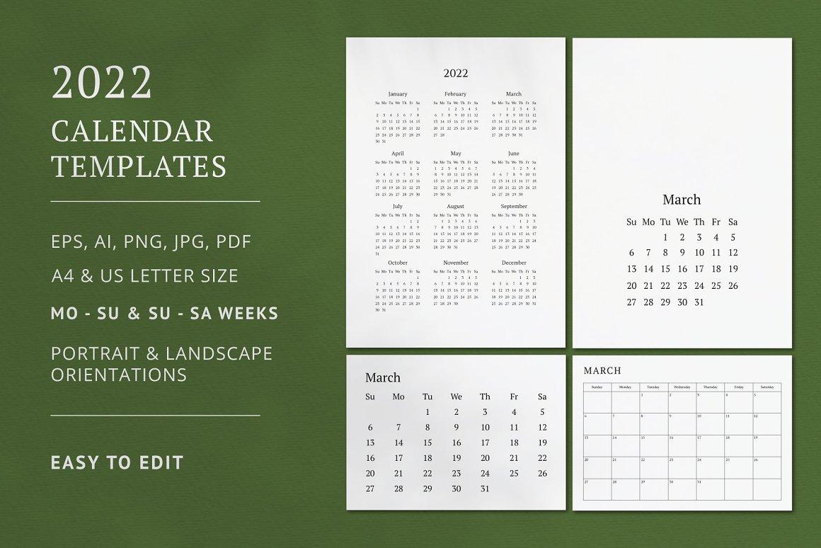 plantillas calendarios 2022