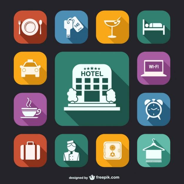 Colección de iconos de hoteles